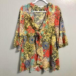 CAbi #360 Floral Sheer Ruffle Kimono Tunic S